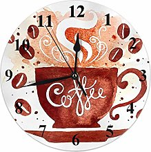 Coffee Clock Watercolor Coffee Cup with Smoke