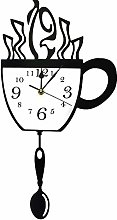 Coffee Cup and Spoon Modern Kitchen Wall Clock