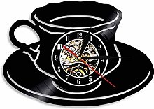 Coffee cup silhouette vinyl clock kitchen wall