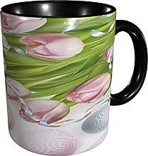 Coffee Mug Tulip Flower Egg Tea Cup Sized 12 Oz