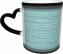 Coffee Mugs Duck Egg Blue Linen Heat Sensitive