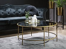 Coffee Table Black Glass Top Gold Metal Frame