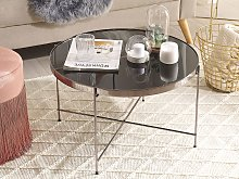 Coffee Table Black Tempered Glass Top Silver Metal