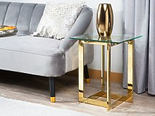 Coffee Table Clear Transparent Gold Square Glass