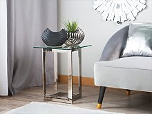 Coffee Table Clear Transparent Silver Square Glass