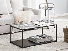 Coffee Table Glass Top Black Metal Frame 100 x 54
