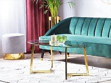 Coffee Table Gold Glass 120 x 60 cm Metal Legs