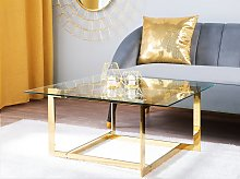 Coffee Table Gold Metal Frame Glass Square Top
