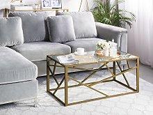 Coffee Table Gold Metal Frame Glass Top Geometric