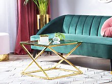 Coffee Table Gold Steel Frame Glass Square Top