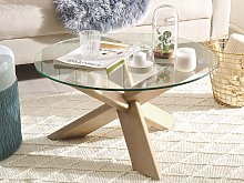 Coffee Table Light Wood Effect ⌀ 70 cm Glass Top