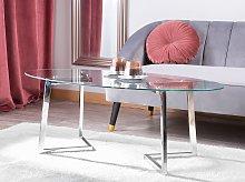 Coffee Table Silver Glass 120 x 60 cm Metal Legs
