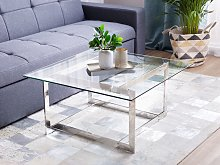 Coffee Table Silver Metal Frame Glass Square Top