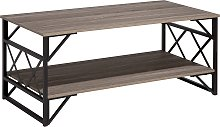 Coffee Table Taupe Wood with Black BOLTON