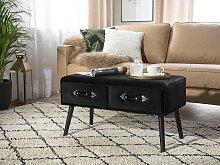 Coffee Table with 2 Storage Drawers Black Velvet