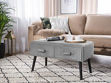 Coffee Table with 2 Storage Drawers Grey Velvet