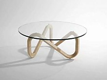 Coffee table with wood base Libra