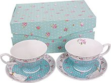 Coffee Tea Cups and Saucers Set of 2 Vintage