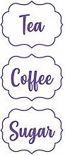 Coffee Tea Sugar Canister Stickers Self-Adhesive