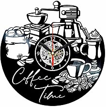 Coffee Time Clock for Kitchen Wall Vinyl Record