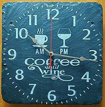 Coffee Until Wine Slate Clock Kichen Clock - Gold