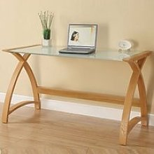 Cohen Curve Laptop Table Large In Milk White Glass