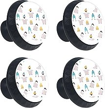 Cold Penguin with Hats Winter Snow 4PCS Round