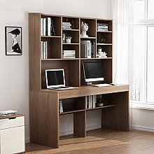 COLiJOL Bookend Pc Table Wood Desk with Bookshelf