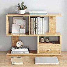 COLiJOL Bookshelf Desktop Bookcase Wood Desk