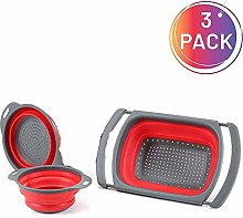 Collapsible Colander Set 3PC BPA Free Silicone