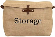 Collapsible Jute Canvas Storage Basket / Bin / Box