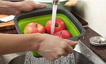 Collapsible Kitchen Basket Strainer: Red/Size L/One