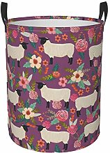 Collapsible Round Storage Bin,Suffolk Sheep Floral