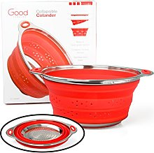 Collapsible Silicone Colander with Stainless Steel