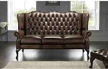Collings Genuine Leather 3 Seater Chesterfield