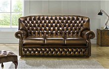 Collinsworth Genuine Leather 3 Seater Chesterfield