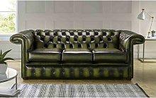 Collum Genuine Leather 3 Seater Chesterfield Sofa