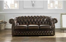 Colman Genuine Leather 3 Seater Chesterfield Sofa