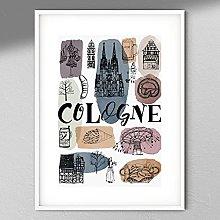 Cologne Art Print - Map Wall Art | Travel Poster |