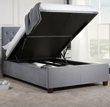 Cologne Grey Fabric Ottoman Storage Bed - 5ft King