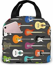 Color Acoustic and Electric Guitars Lunch Bag