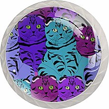 Color Cartoon cat White Crystal Drawer Handles