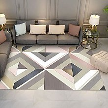 Color checkered geometry Fluffy Rug for the