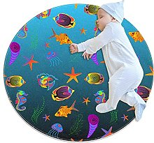 Color fish, Kids Round Rug Polyester Throw Area