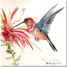 Color Hummingbird Picking Nectar Painting Print On