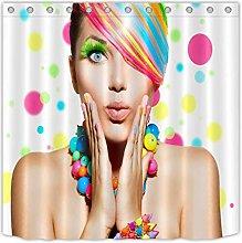 Color Makeup Woman Fabric Shower Curtain Set