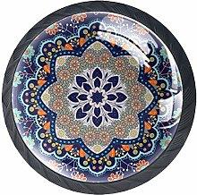 Color Mandala Round Knob Metal Cabinet Cupboard