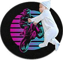 Color motorcycle, Kids Nursery Rug Play Mat Round