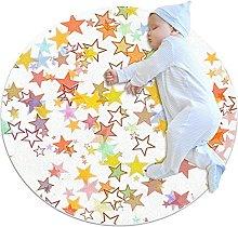 Color stars, Kids Nursery Rug Play Mat Round