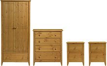 Colorado 4 Piece 2 Door Wardrobe Set - Pine